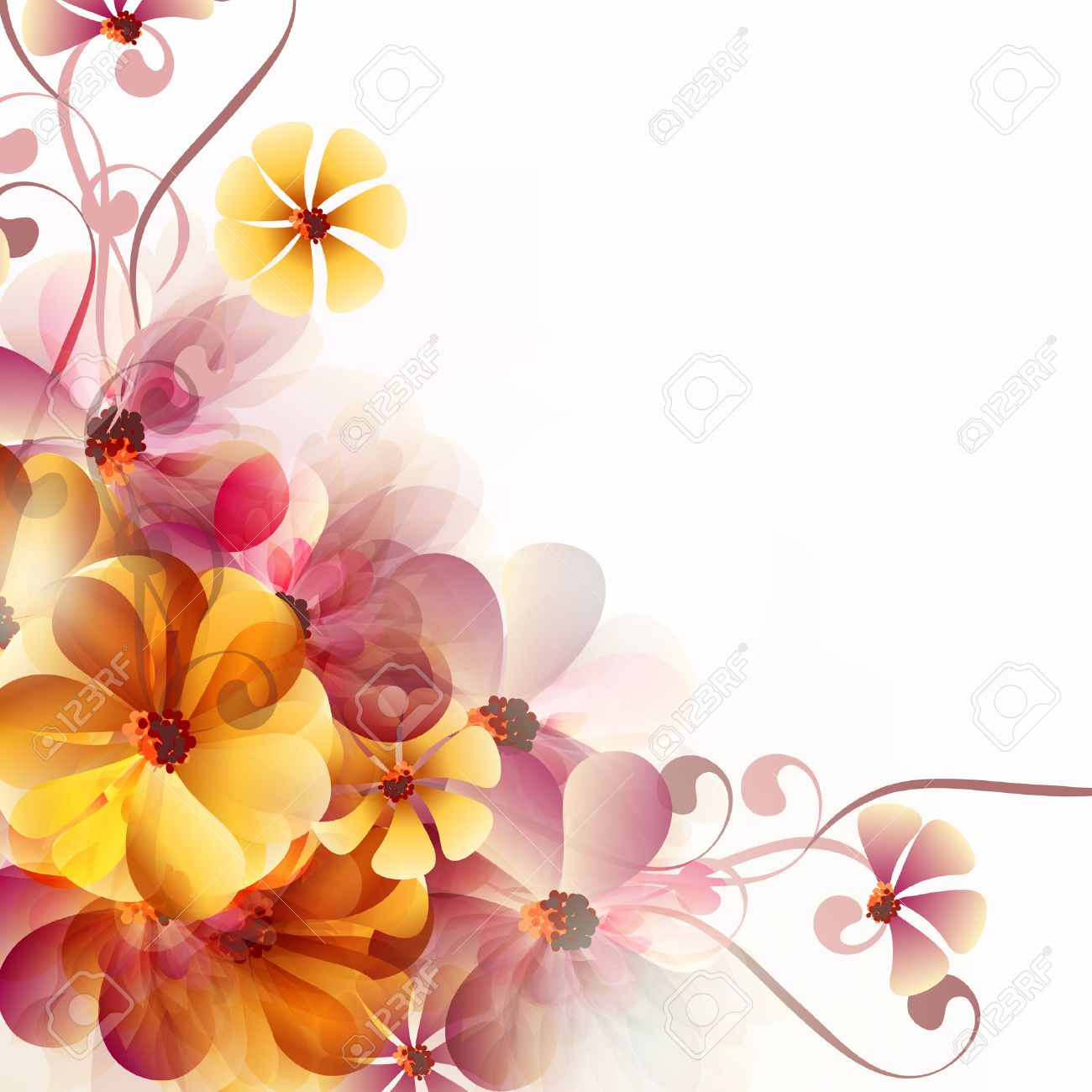 Abstract Floral Vector Background With Pink And Orange Flowers Royalty Free Cliparts Vectors And Stock Illustration Image 47750826