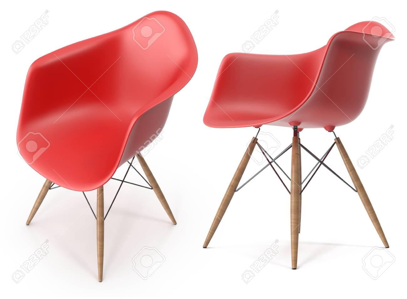 banque d images chaise moderne rouge illustration 3d isolee sur fond blanc
