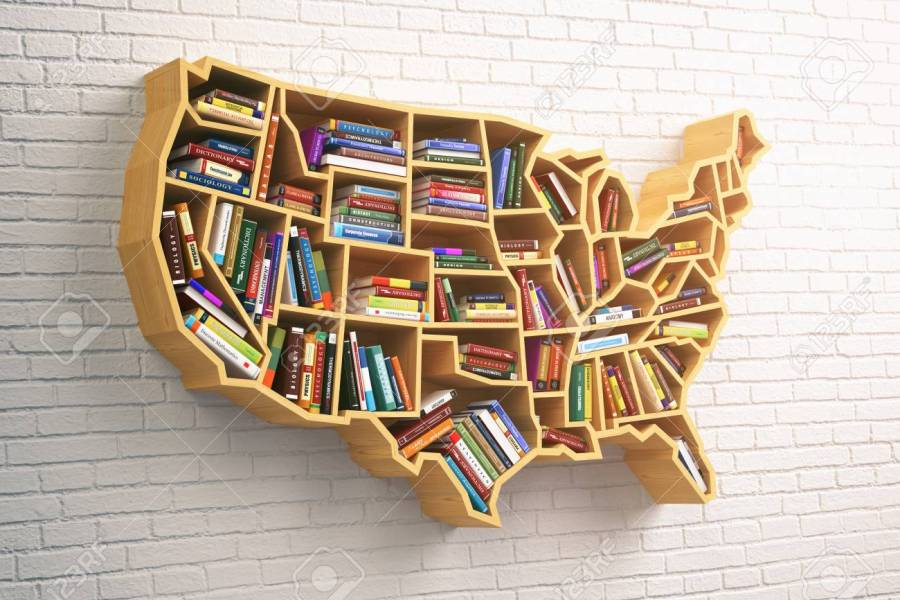 USA Education Or Market Of Books Concept  Book Shelf As Map   Stock     Illustration   USA education or market of books concept  Book shelf as map  of USA  3d illustration