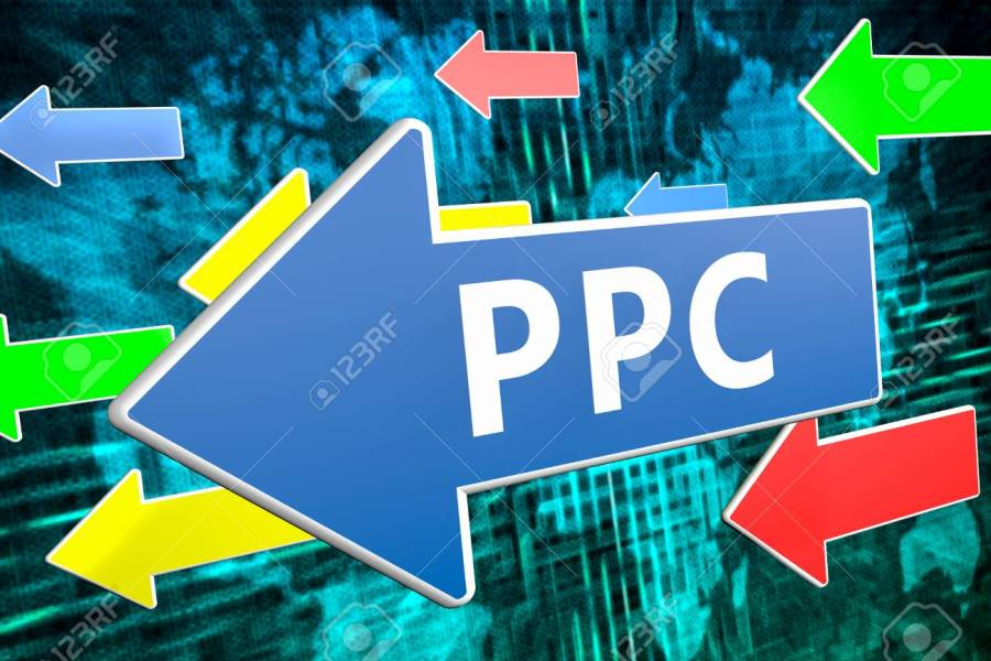 PPC   Pay Per Click   Text Concept On Blue Arrow Flying Over   Stock     Illustration   PPC   Pay per Click   text concept on blue arrow flying over  green world map background  3D render illustration