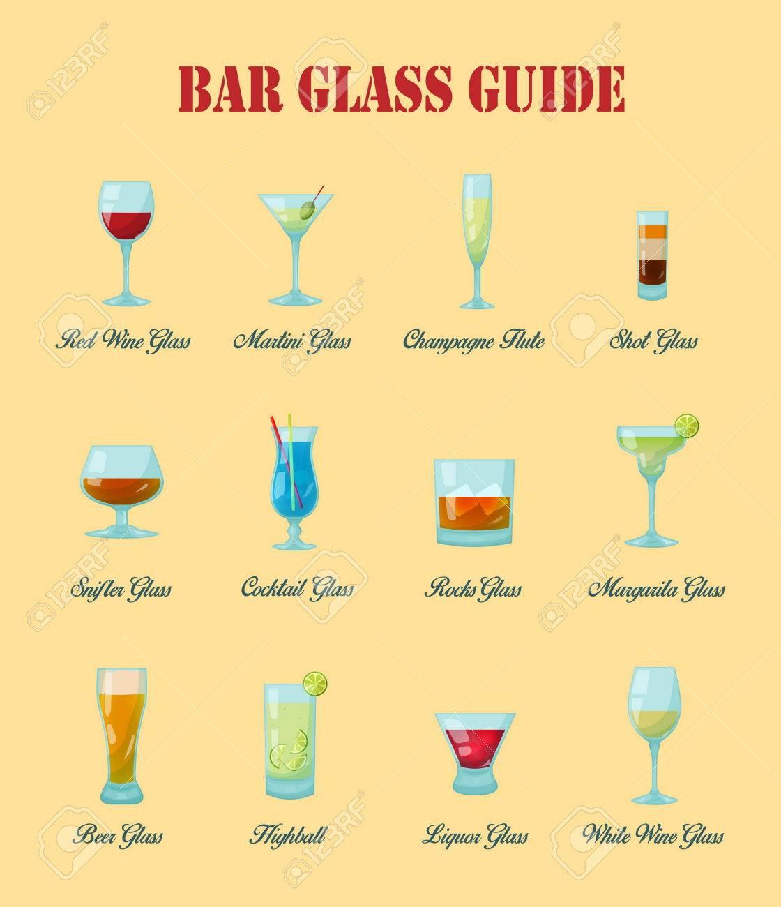 bar glasfuhrung eine sammlung von vaus arten von vektor bar glaser deren korrekte benennung und nutzung fur getranke