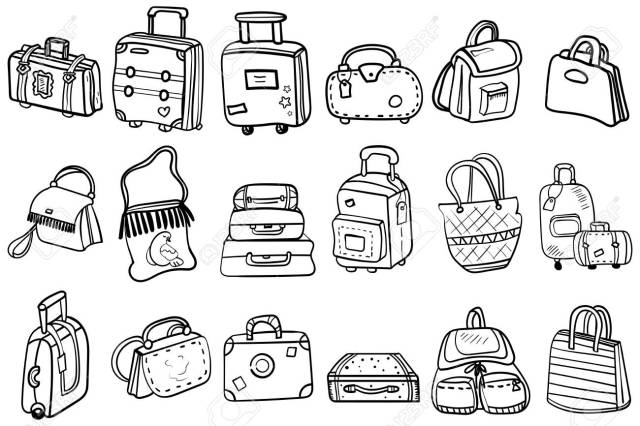 Coloring Page Or Book, Antistress, Hobby. Variations Of Bags, Hand