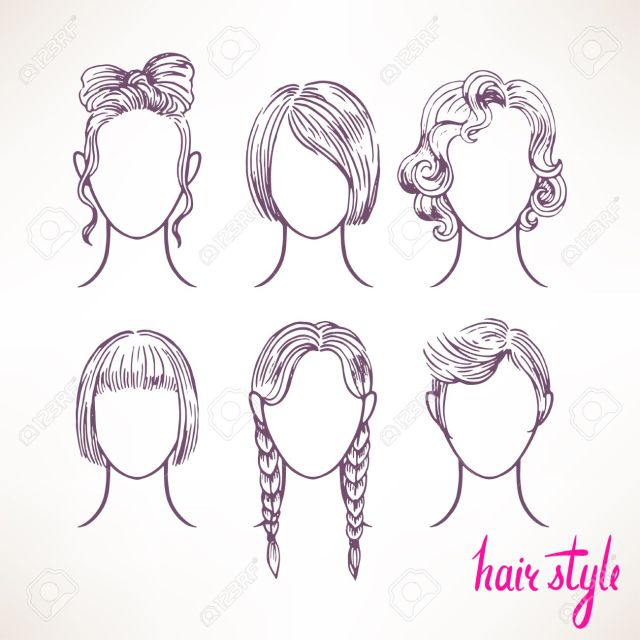 set with different hairstyles. hand-drawn illustration - 2