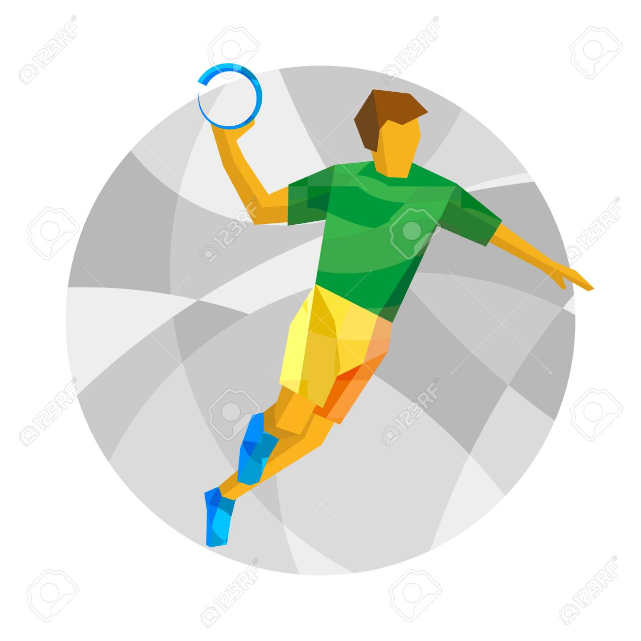 handball player with abstract patterns flat athlete icon sport