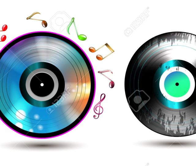 Vector Vinyl Record With Cd And Music Notes