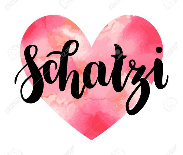 Schatzi Sweetheart In German Happy Valentines Day Card Hand Written Lettering Isolated