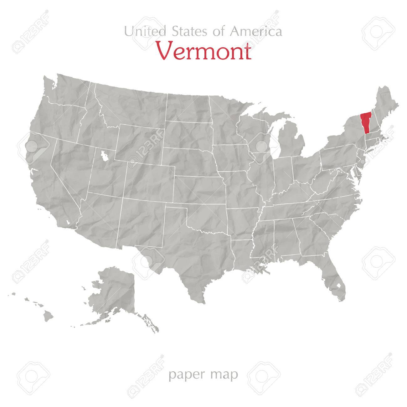 The connecticut river defines its border with new hampshire in the east; United States Of America Map And Vermont State Territory On Textured Paper Royalty Free Cliparts Vectors And Stock Illustration Image 28257321