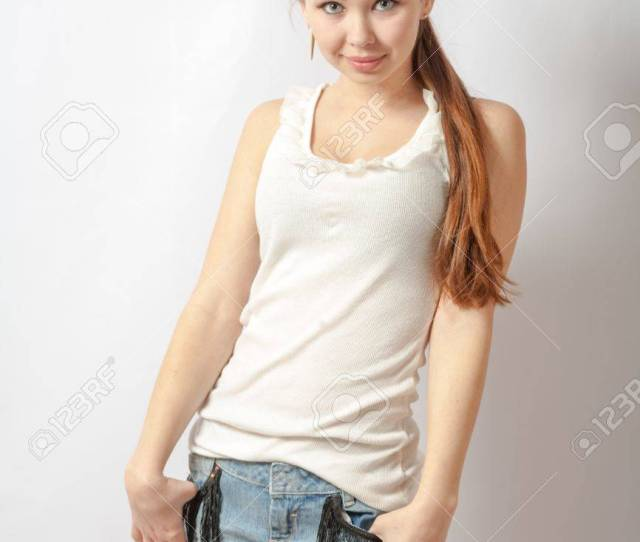 Shy Teen Girl Portrait Over White Background Glamorous Young Sexy Woman Stock Photo