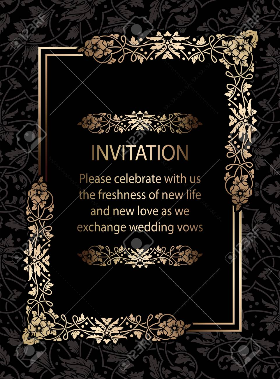 floral invitation card or background with antique luxury black