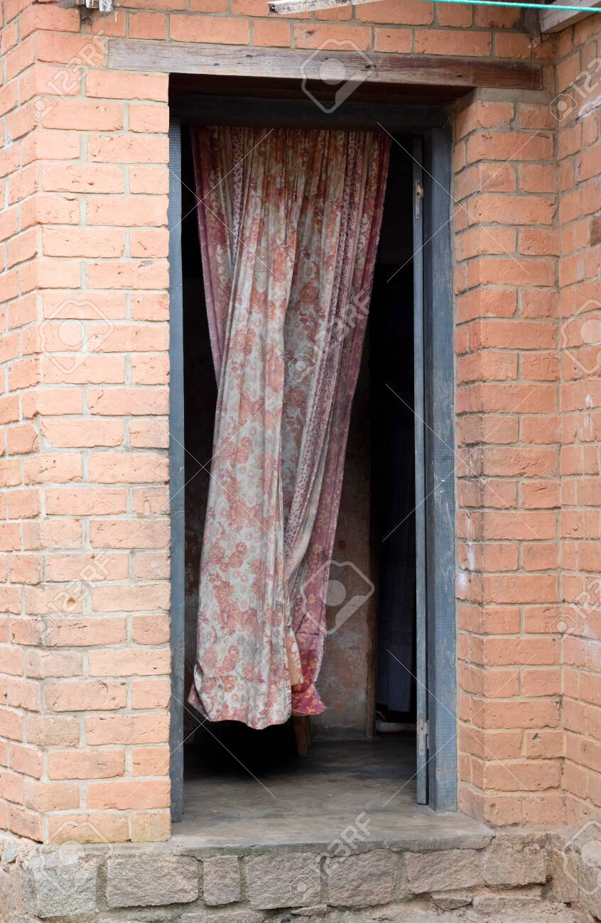 open door olny closed with a curtain madagascar stock photo picture and royalty free image image 132309115