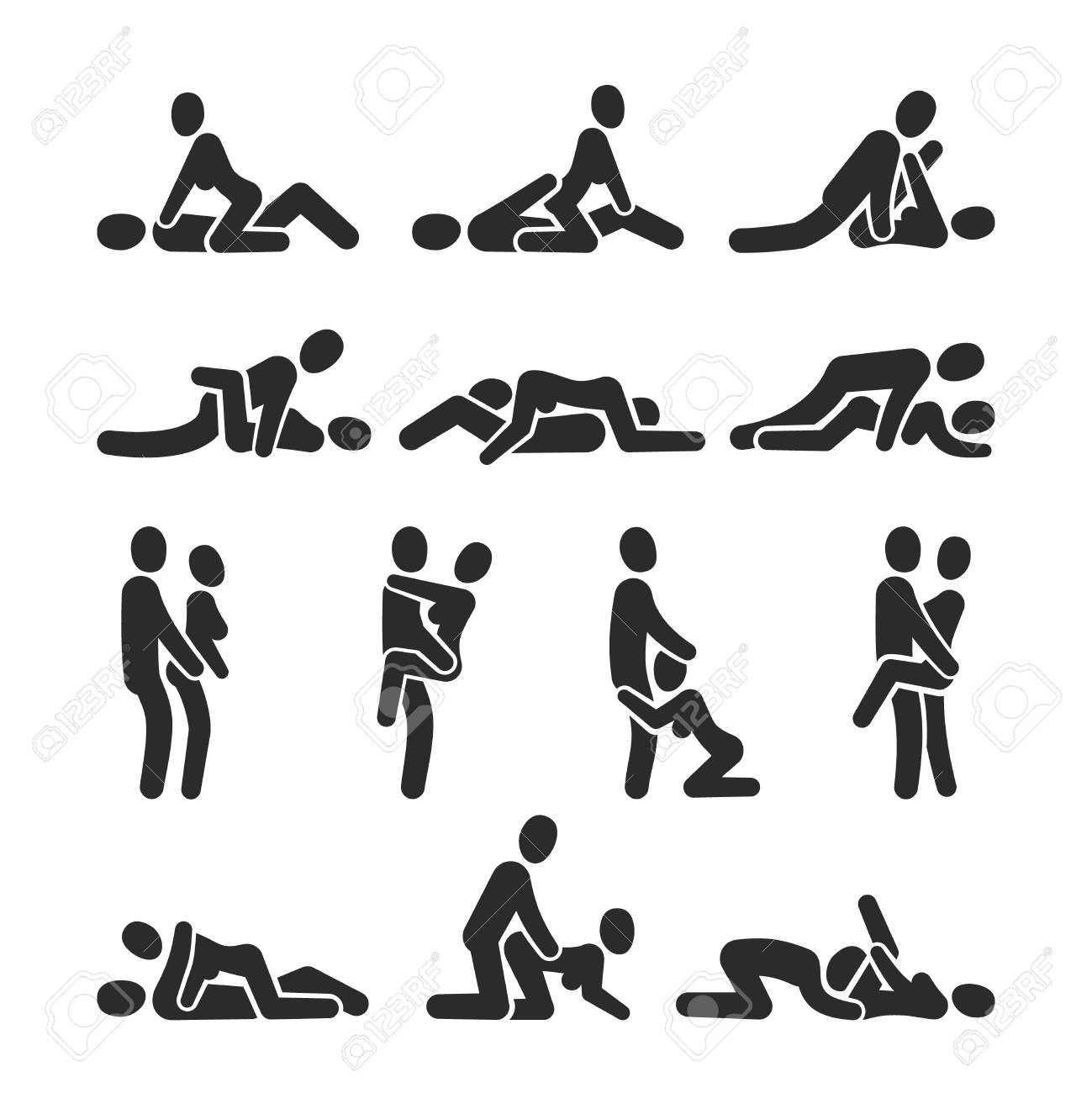 Sexual Position Vector Icons Sex Positioning Between Man And Woman Couple Pictograms Position Sexy