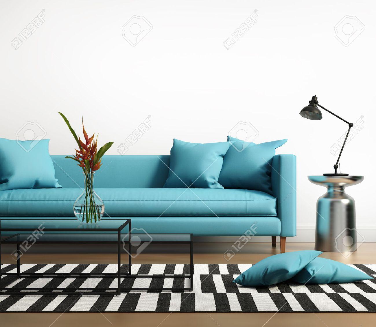 banque d images interieur moderne avec un canape bleu turquoise dans le salon