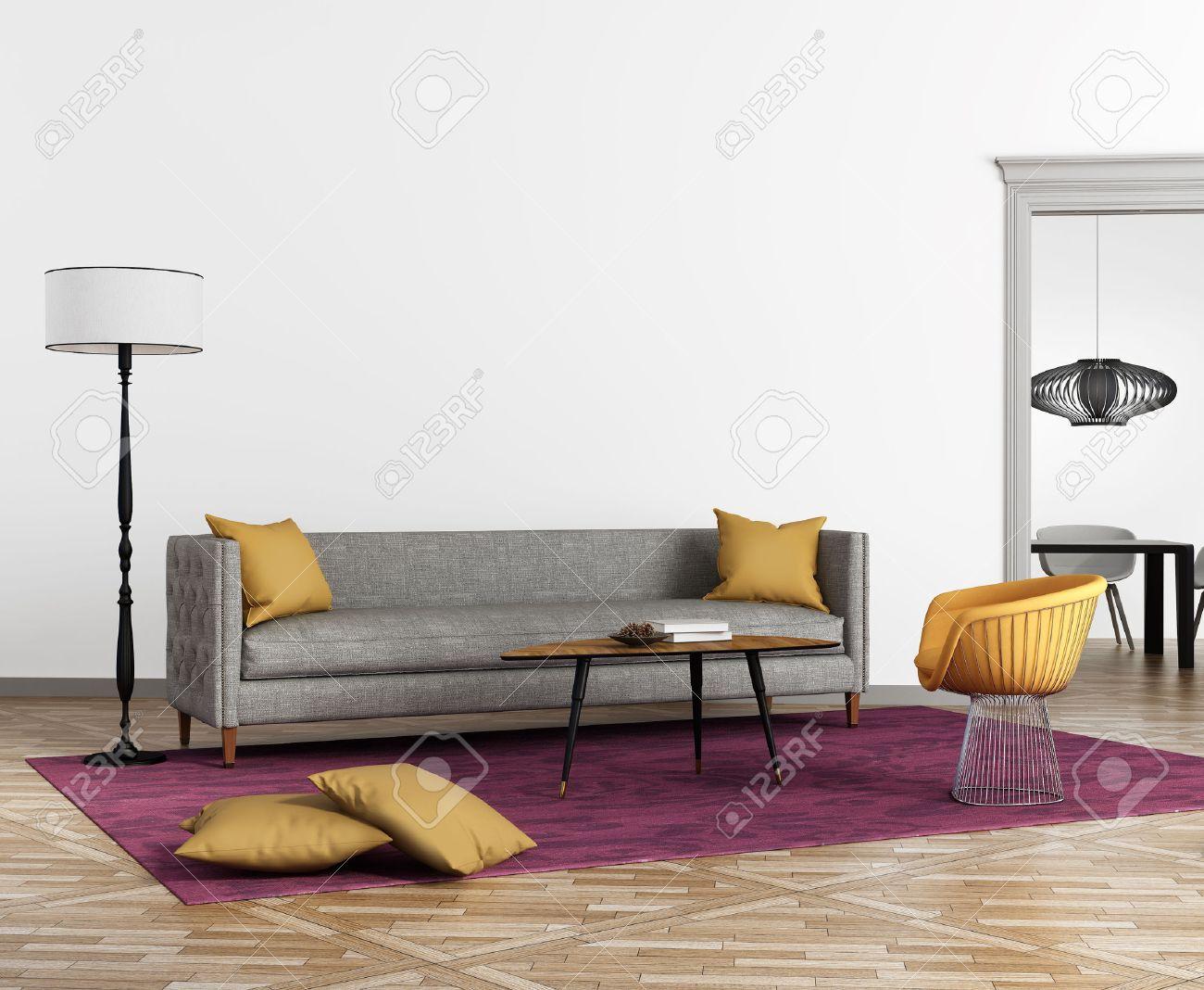 interieur moderne de style scandinave avec un canape gris et un tapis violet