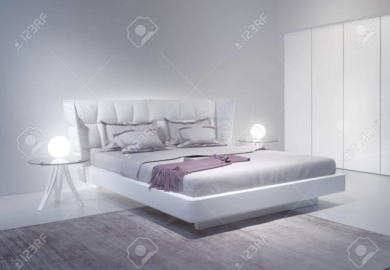 moderne weisse schlafzimmer interieur mit violetten akzenten