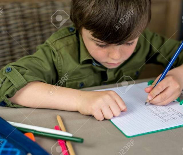 Boy Working Hard On His Homework Shallow Depth Of Field Stock Photo