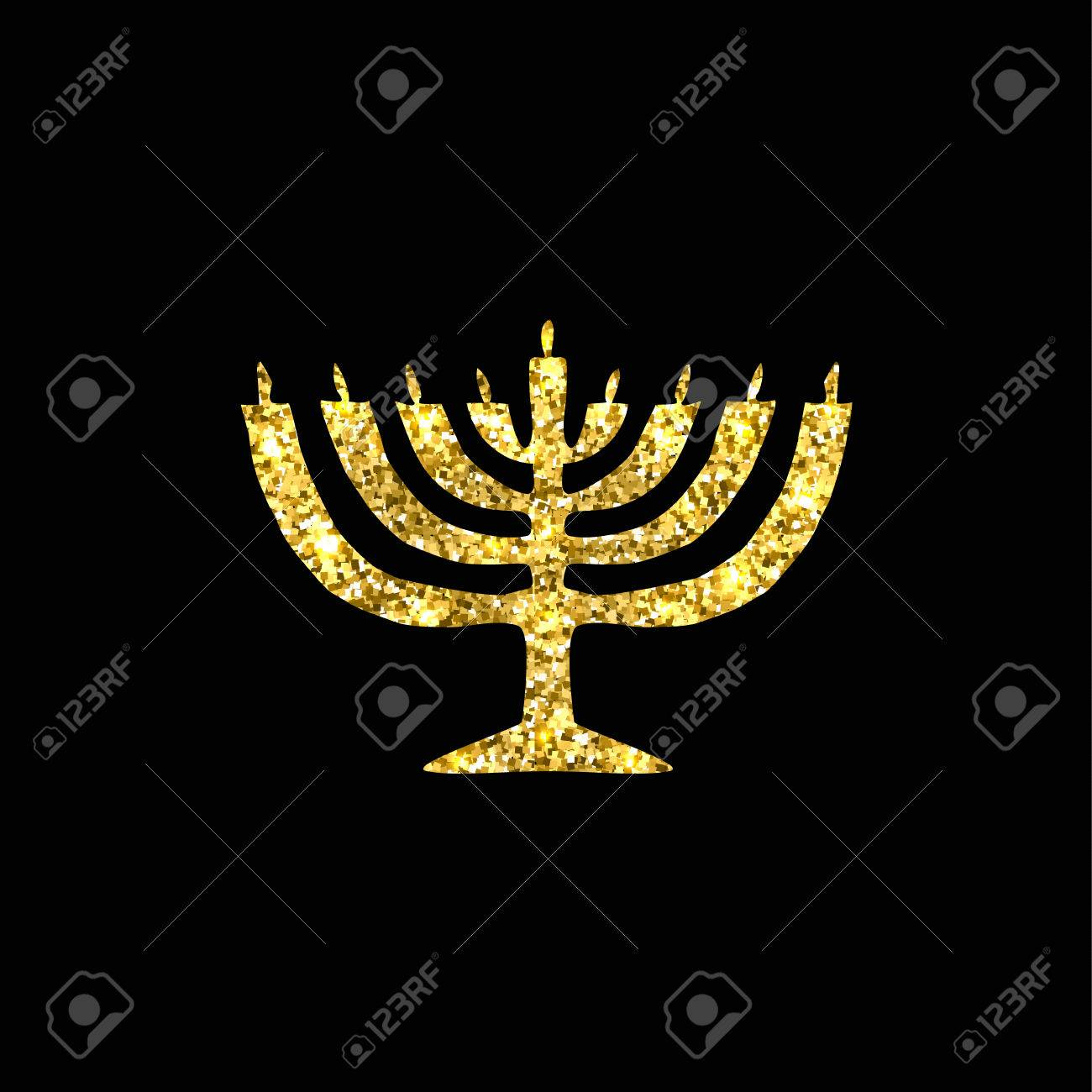 banque d images hanukkah bougeoir silhouette doree or fete religieuse juive de hanoukka vector illustration sur un fond noir
