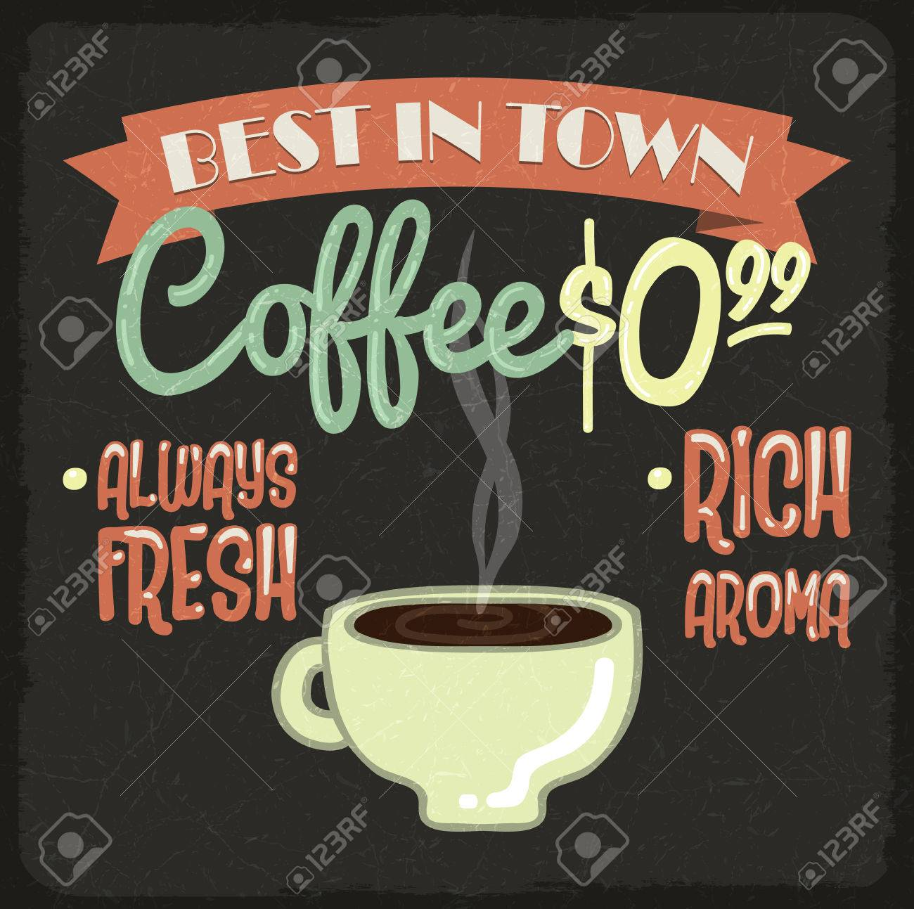 old vintage coffee poster retro style
