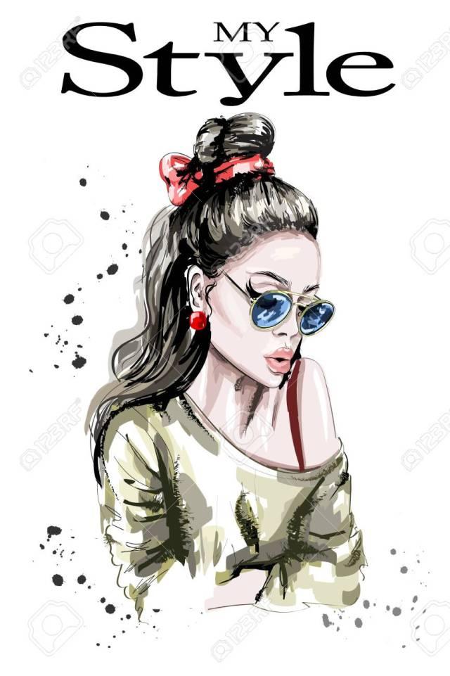 hand drawn beautiful woman portrait. fashion woman. stylish lady..