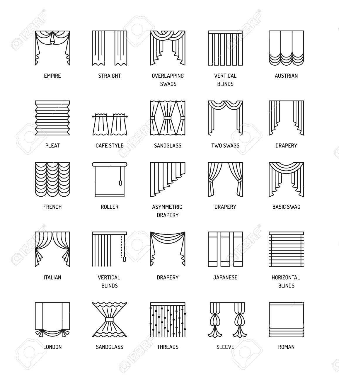 une icones de ligne de vecteur avec des rideaux fenetre couvrant differents styles de draperies rideaux et stores roman francais rouleau pli