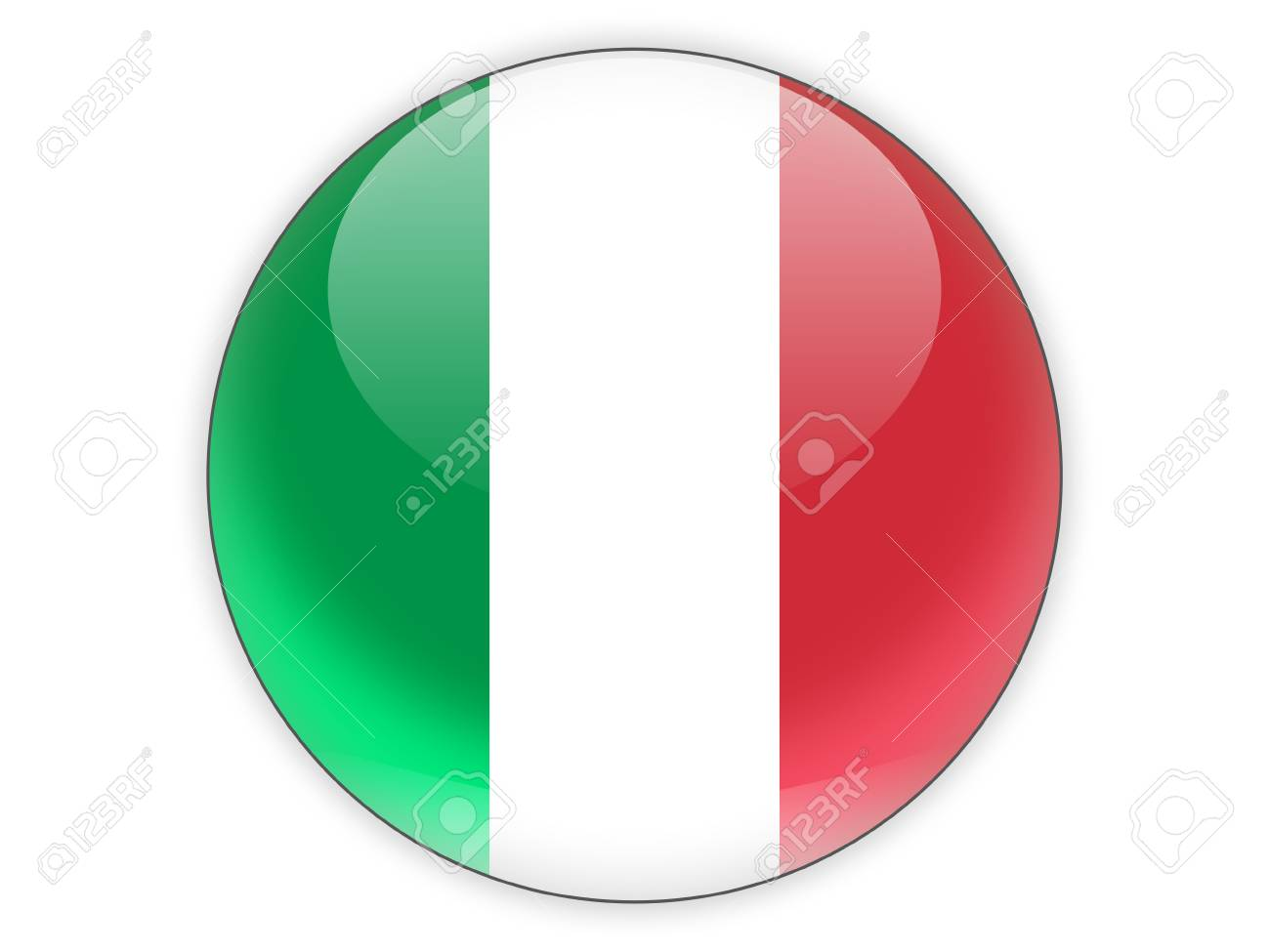 icone ronde avec le drapeau de l italie isole sur blanc