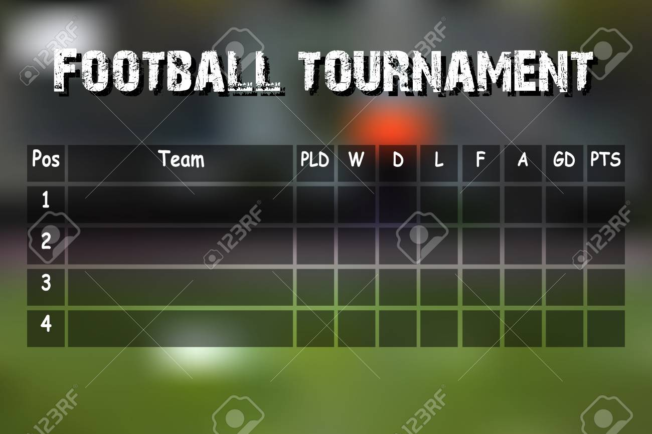 Football Results Table Summary Table Football Tournament Stock Vector 78946752