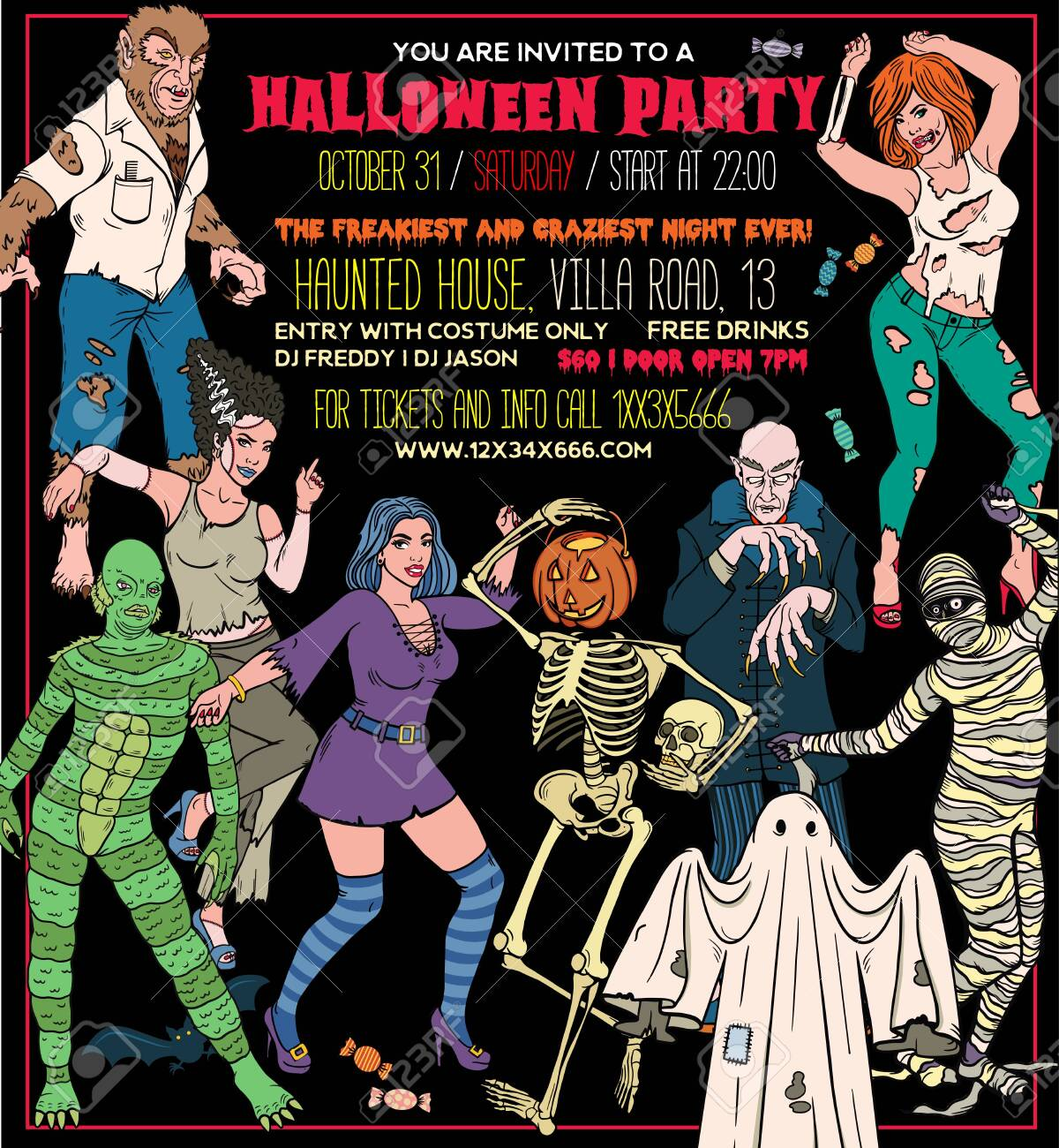 Do you ever feel that halloween creeps up on you or that you're never actually ready when the day arrives? Halloween Costume Party Invitation Flyers Tickets Or Invitation Templates Royalty Free Cliparts Vectors And Stock Illustration Image 123554519