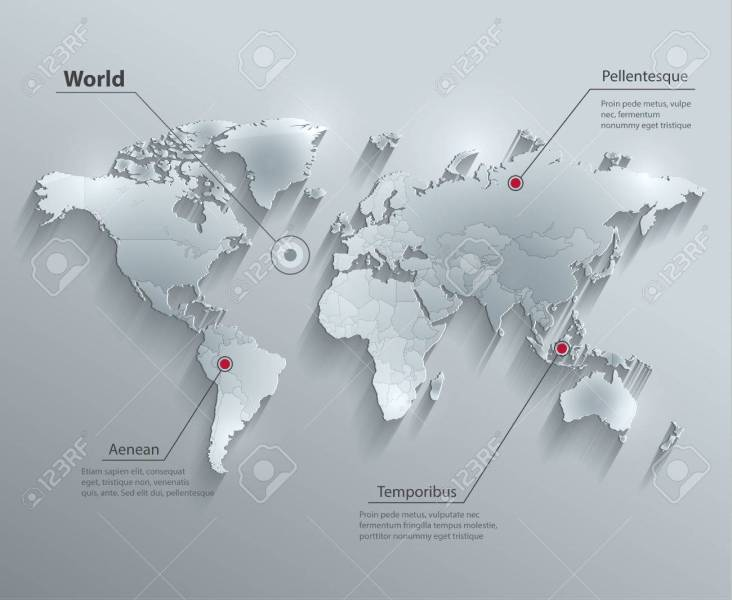 World Political Map Glass Card Paper 3D Individual States Separate     Vector   World political map glass card paper 3D Individual states Separate
