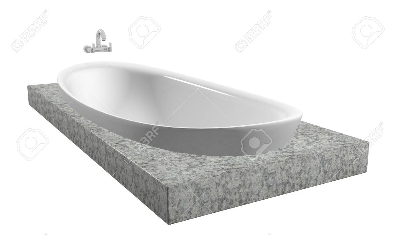 blanc baignoire ovale avec robinet chrome assise sur une ardoise granit isole sur un fond blanc