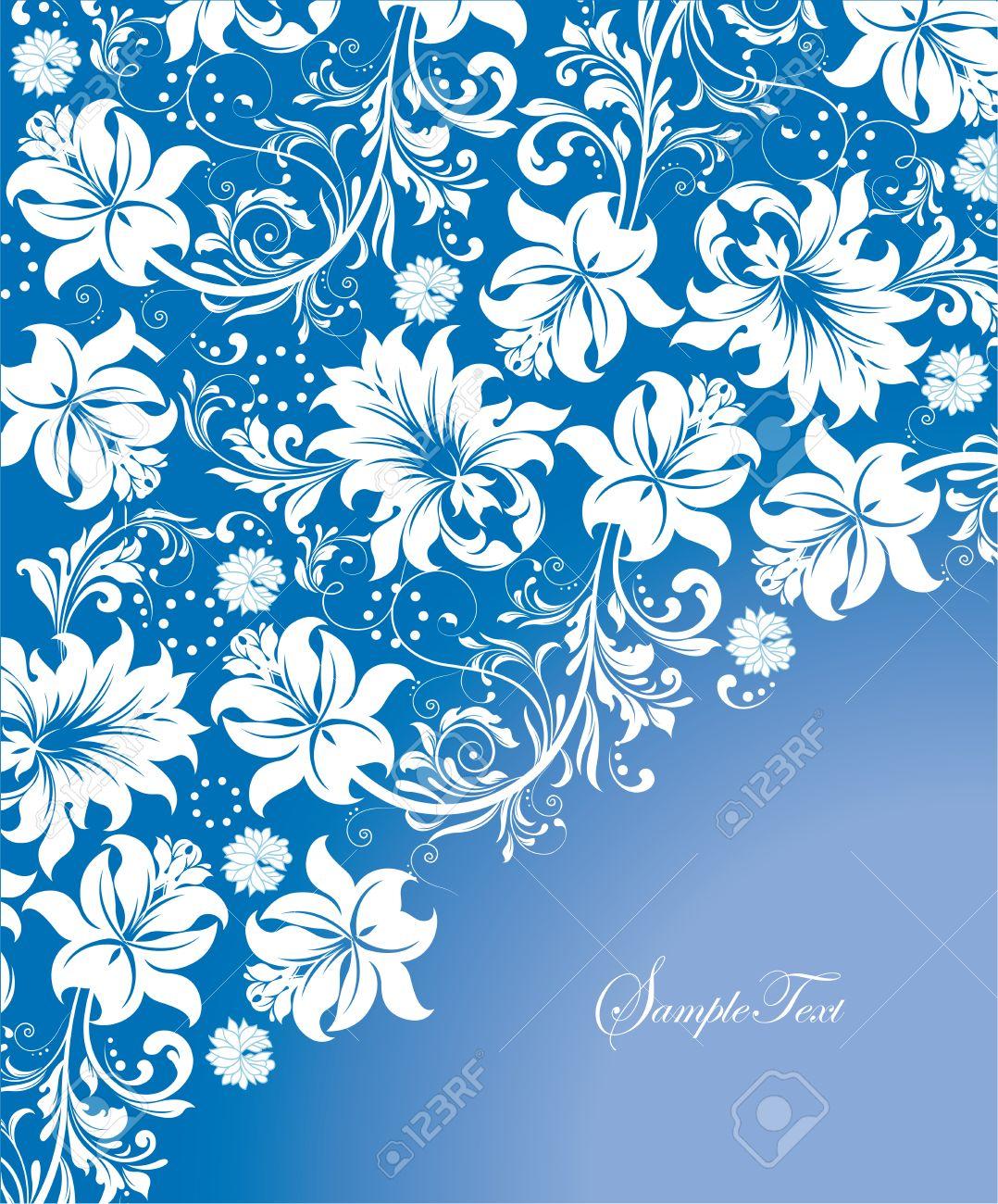 vintage invitation card with ornate elegant abstract floral design