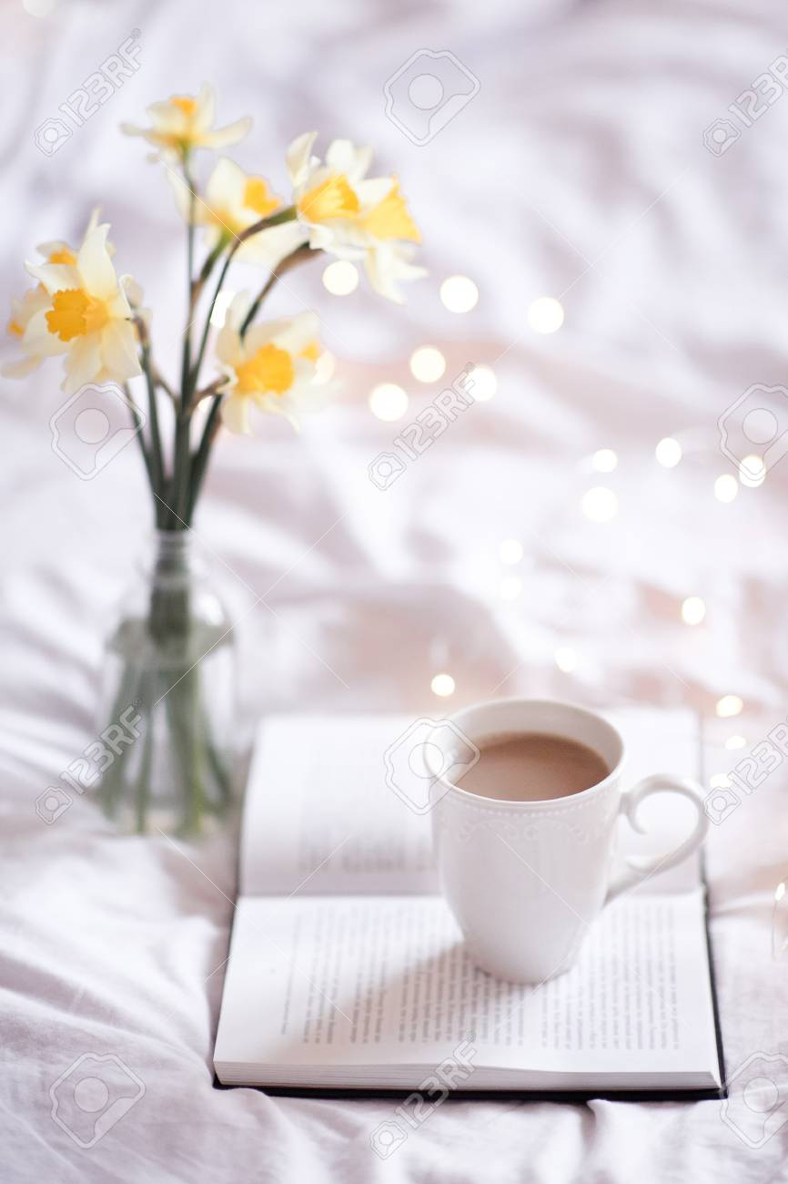 Good Morning With Fresh Cup Of Coffee And Reading In Bed Stock Photo Picture And Royalty Free Image Image 106232761