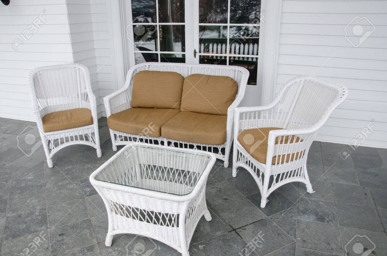 white wicker patio furniture set out to relax and enjoy the view stock photo picture and royalty free image image 24714162