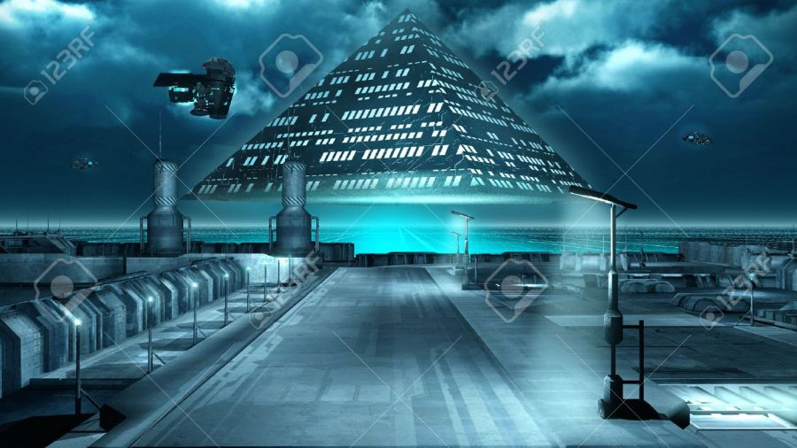 Science Fiction Scenery With A Flying Pyramid Stock Photo  Picture     Science fiction scenery with a flying pyramid Stock Photo   60009130