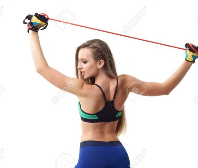 Concepts Healthy Lifestyle Sport Happy Beautiful Woman Fitness Trainer Working Out With Fit