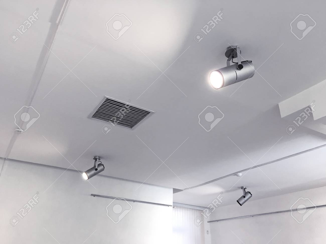 Exhibition Ceiling Light Fixtures Bright Halogen Spotlights Stock Photo Picture And Royalty Free Image Image 87173484