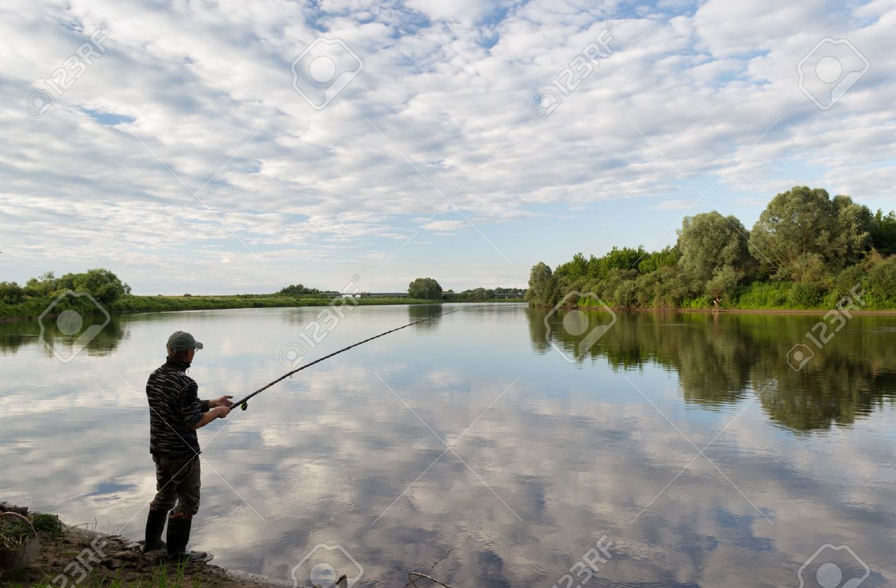 Image result for picture of guys fishing on a river bank