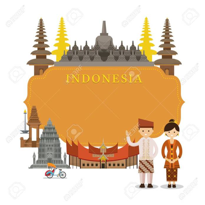 Indonesia Landmarks People In Traditional Clothing Frame Culture Royalty Free Cliparts Vectors And Stock Illustration Image 76080527
