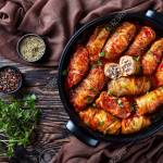 Overhead View Of Cabbage Rolls Stuffed With Ground Beef And Rice Stock Photo Picture And Royalty Free Image Image 112381333