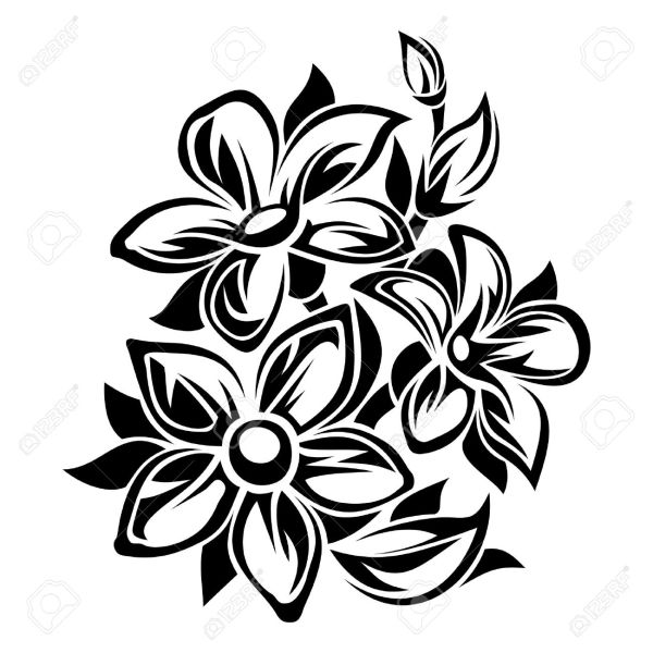 Flowers Black And White Ornament  Vector Illustration  Royalty Free     Flowers black and white ornament  Vector illustration  Stock Vector    36424810