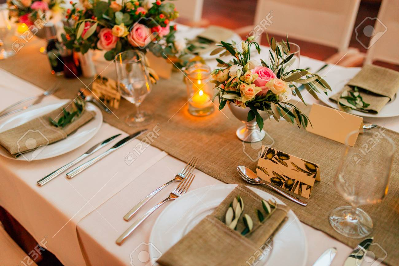 Plate At The Wedding Table Rustic Table Setting At A Wedding Stock Photo Picture And Royalty Free Image Image 85800477
