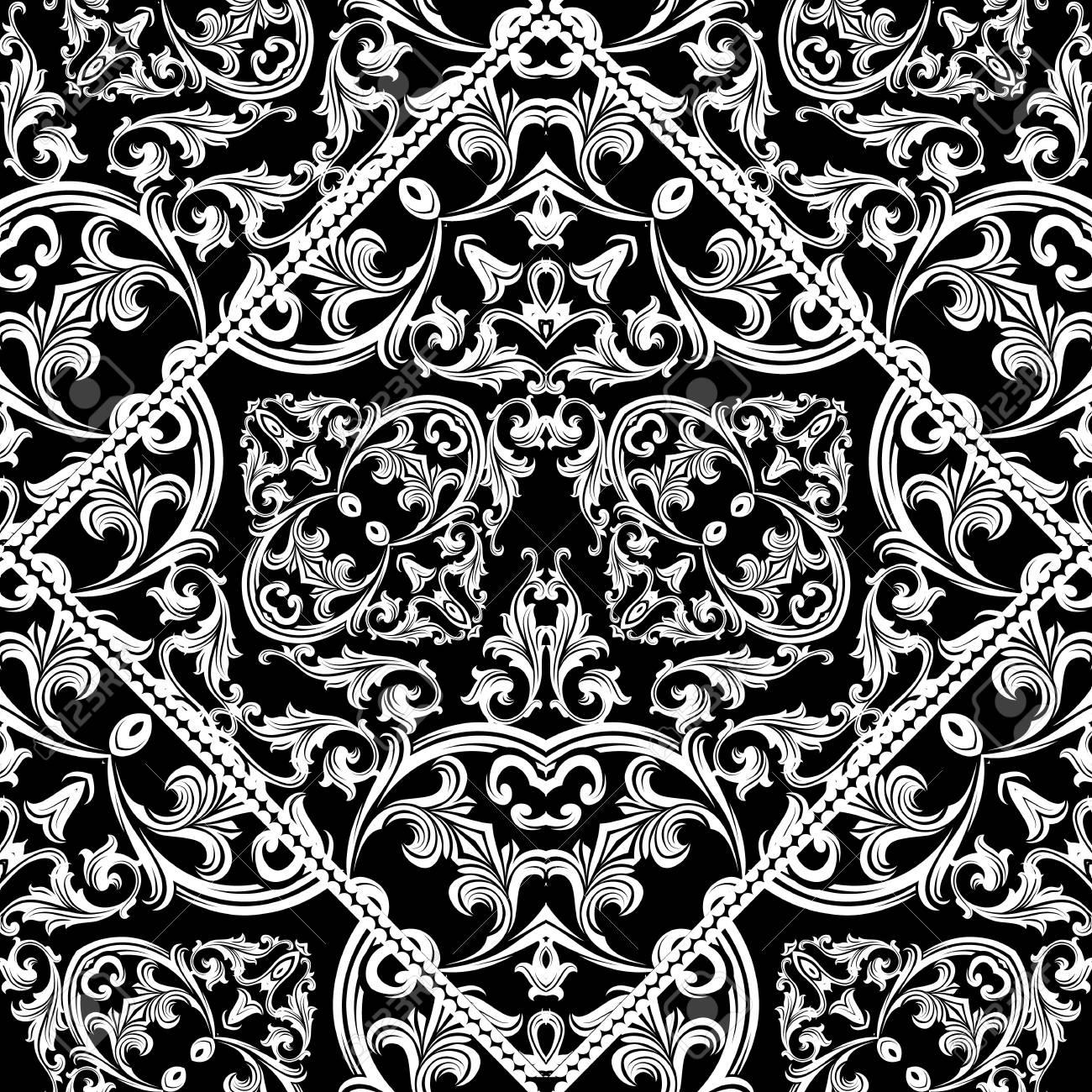 modele sans couture baroque antique fond d ecran floral noir avec de belles fleurs damasses blancs vintage feuilles de defilement cadre de losange