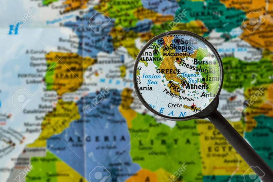 Map Of Greece Through Magnifying Glass Stock Photo  Picture And     map of Greece through magnifying glass Stock Photo   57265836