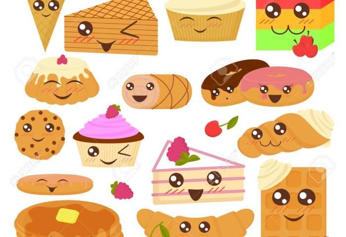 Cute Bakery Goods Vector Illustration In Flat Cartoon Style Royalty