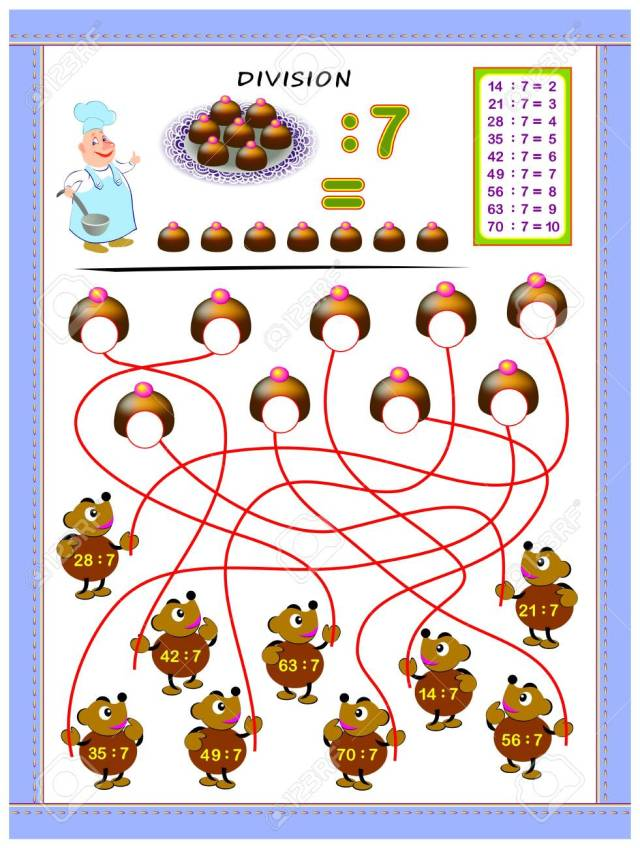 Exercises For Kids With Division Table By Number 22. Solve Examples