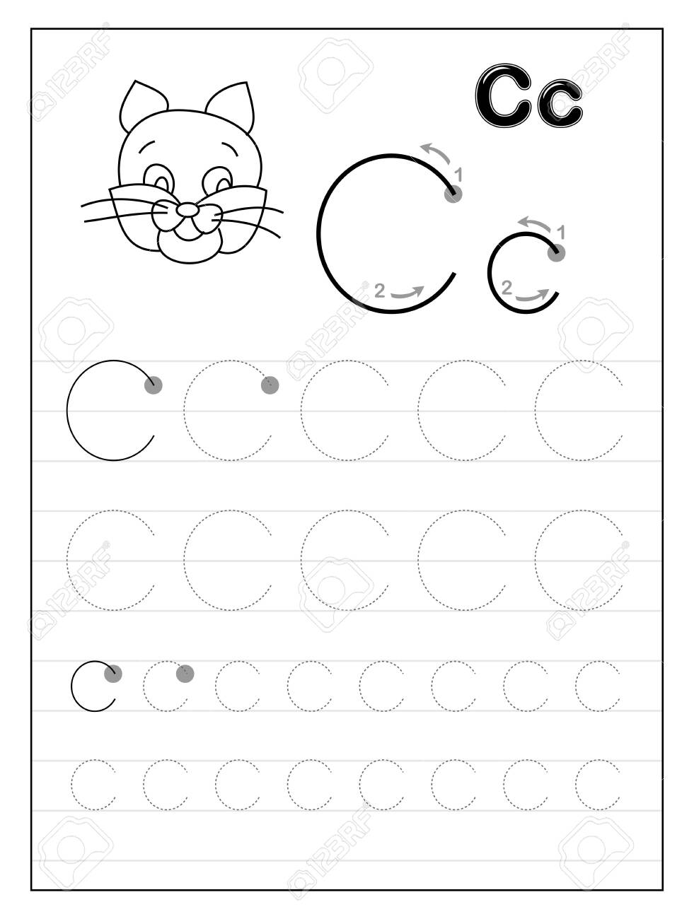 Tracing Alphabet Letter C Black And White Educational Pages Royalty Free Cliparts Vectors And Stock Illustration Image 130549143