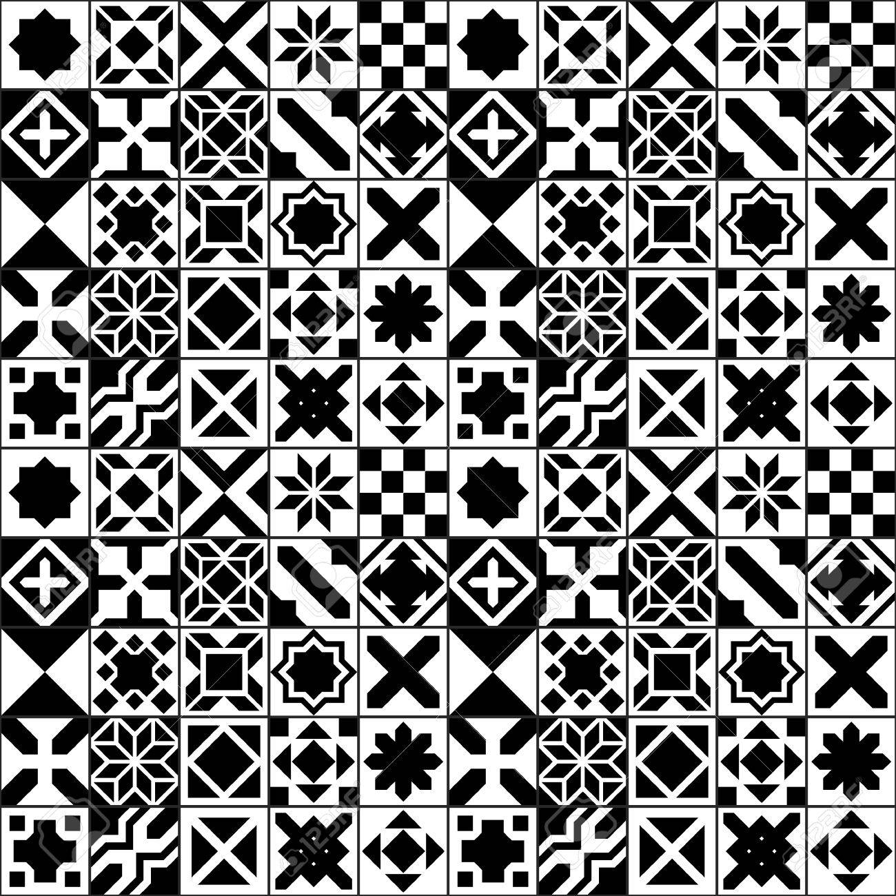 black and white moroccan tiles seamless pattern vector background