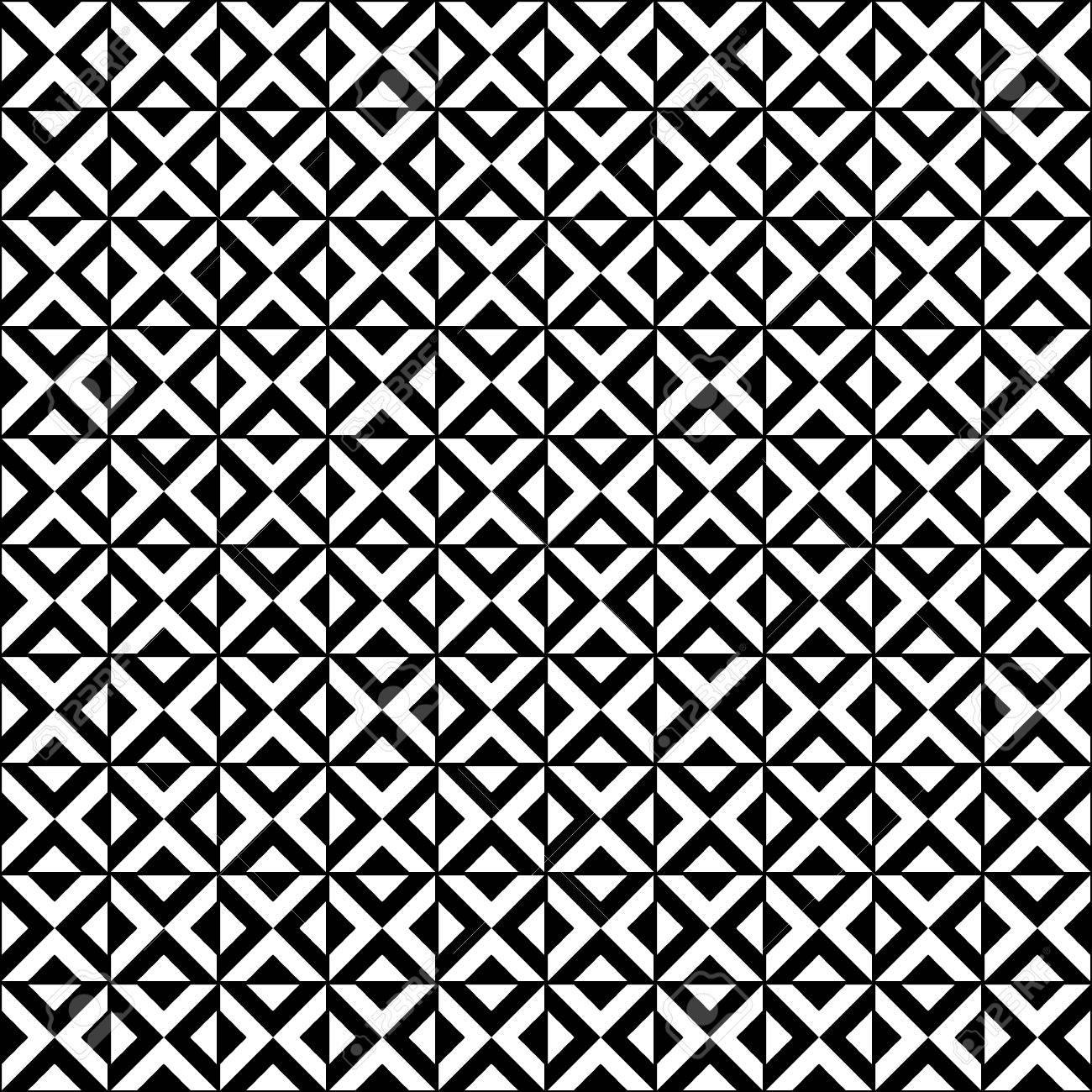 black and white geometric tiles seamless pattern