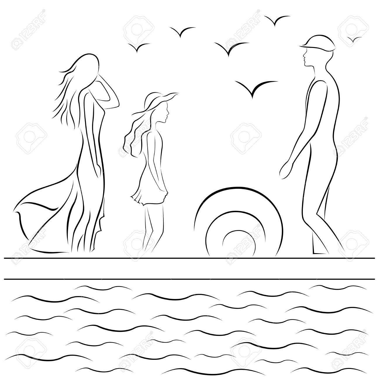 famille au quai de la mer au coucher du soleil dessin a la main en noir et blanc illustration vectorielle