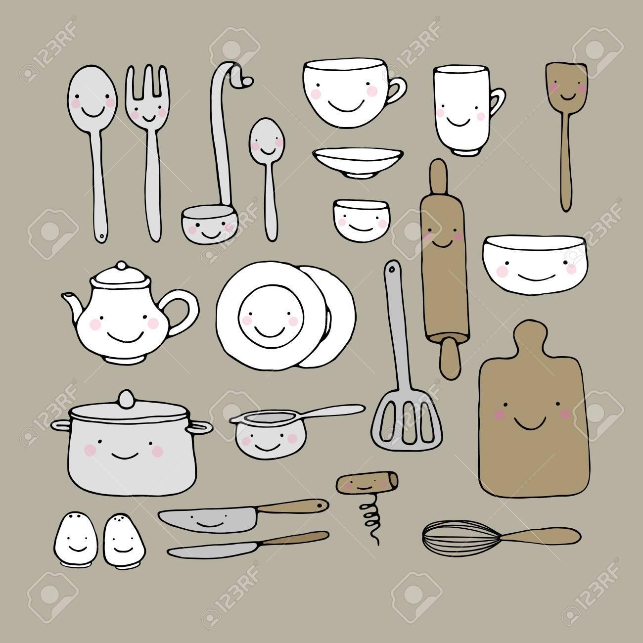 un ensemble d ustensiles de cuisine main dessiner des objets isoles sur fond blanc illustration vectorielle
