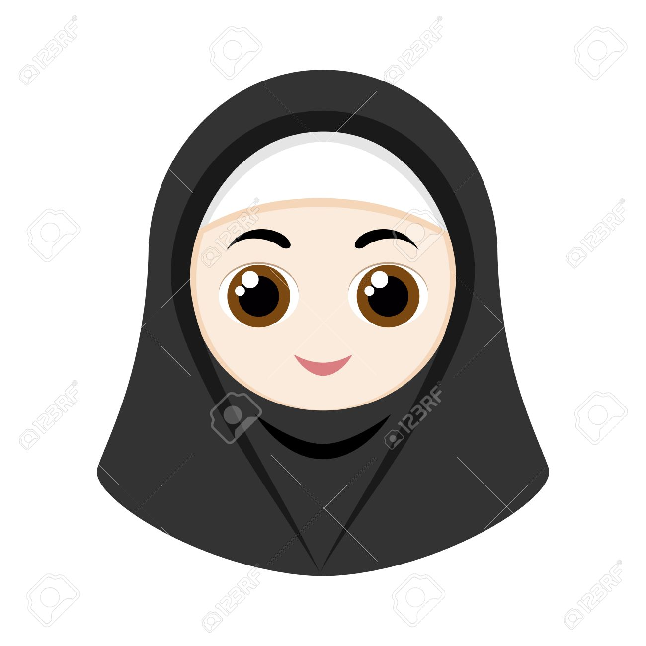 Muslim women wearing hijab cartoon vector. Cartoon Girl With Black Hijab Isolated On White Background Royalty Free Cliparts Vectors And Stock Illustration Image 56428741