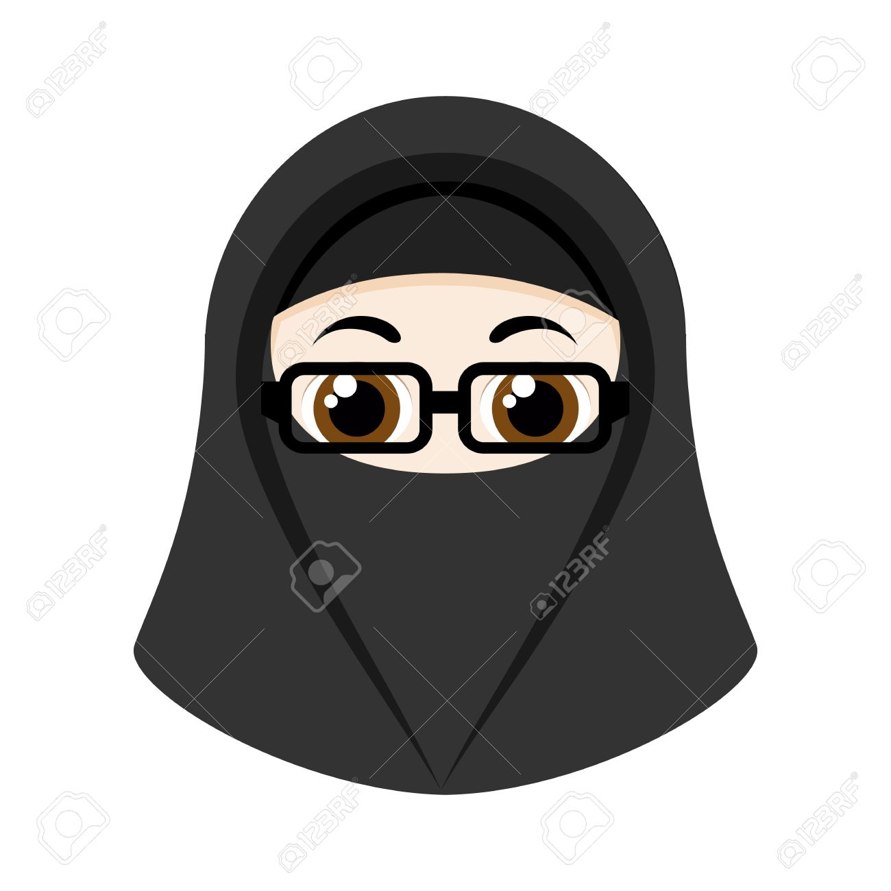 Muslim women wearing hijab cartoon vector. Cartoon Girl With Black Niqab Isolated On White Background Royalty Free Cliparts Vectors And Stock Illustration Image 56428342